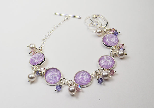 Lavender Paisley Bracelet with Pearls and Crystals