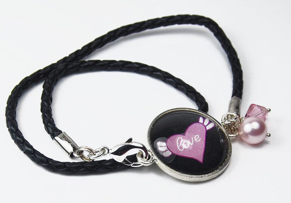 Pink Heart and Black Leather Wrap Bracelet