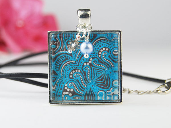 Tribal Batik Square Pendant Necklace