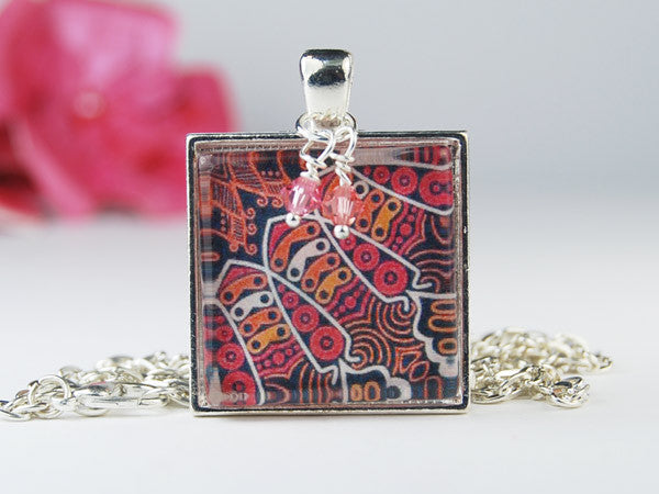 Tribal Fire Square Pendant Necklace
