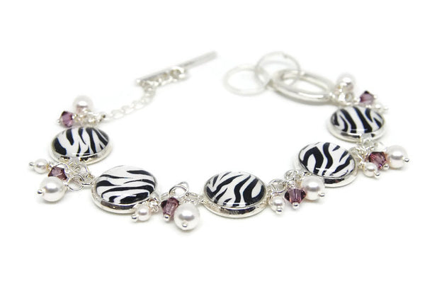 Zebra Bracelet with Pearls and Crystals