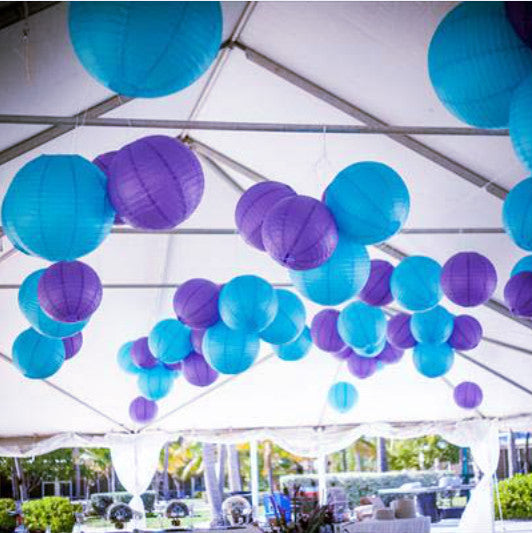 9x 30cm Paper Lanterns - Purple & Blue