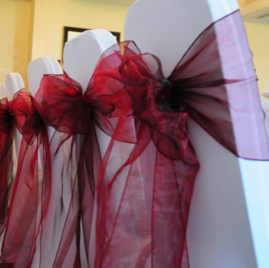 Burgundy Organza Chair Sashes Table Runners