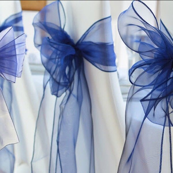 Navy Blue Organza Chair Sashes Table Runners