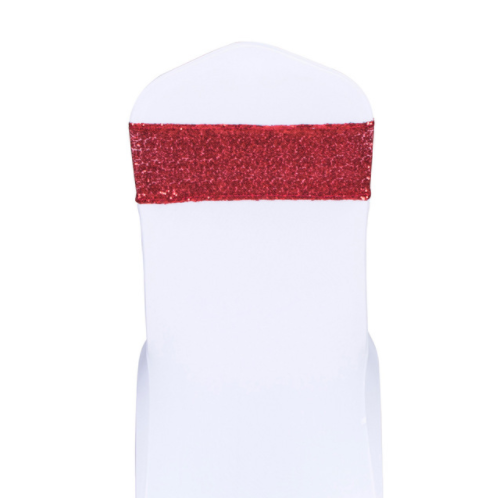 Red Sequin Glitter Chair Bands