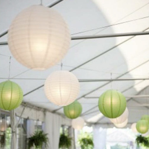 9x 30cm Paper Lanterns - White & Green
