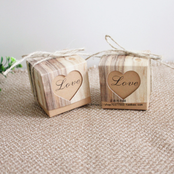 Vintage Kraft Favour Boxes - Love