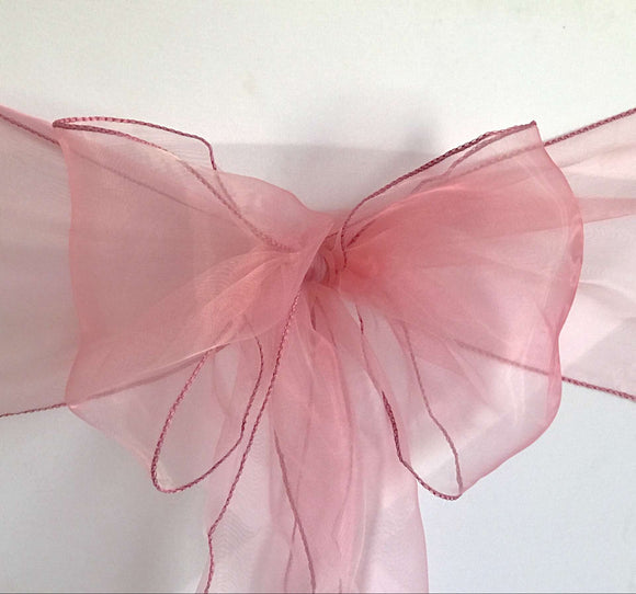 Dusty Pink Organza Chair Sashes Table Runners