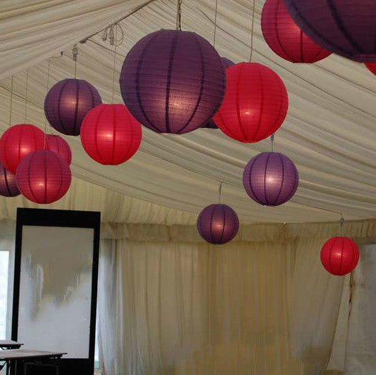 9x 30cm Paper Lanterns - Red & Purple
