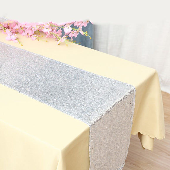 Silver Sequin Glitter Table Runners