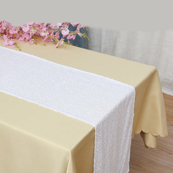 White Sequin Glitter Table Runners