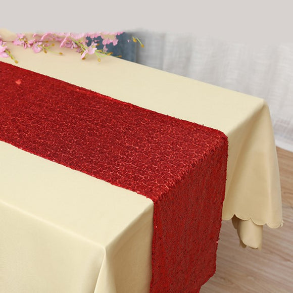 Red Sequin Glitter Table Runners