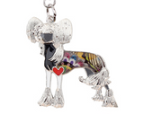 Couture Chinese Crested Key Chain Black