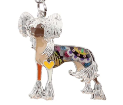 Couture Chinese Crested Key Chain Brown