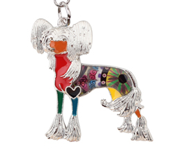 Couture Chinese Crested Key Chain Orange
