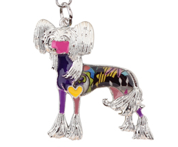 Couture Chinese Crested Key Chain Purple