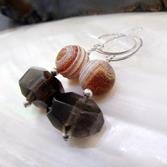 agate smoky quartz unique semi-precious gemstone statement earrings uk