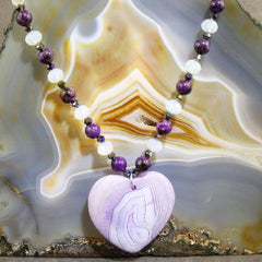 lilac agate love heart pendant necklace uk