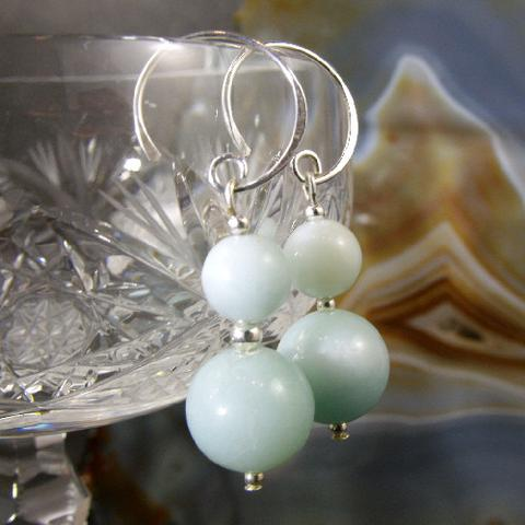 semi-precious amazonite statement earrings uk