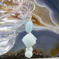amazonite drop gemstone jewellery earrings unique handcrafted uk