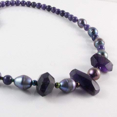 semi-precious amethst necklace uk crafted handmade jewellery