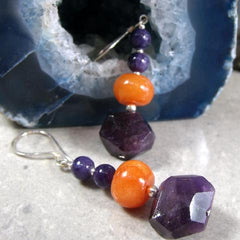 purple orange gemstone statement earrings uk