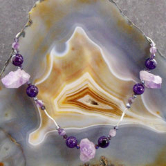 lilac amethyst purple amethyst semi-precious gemstone jewellery necklace