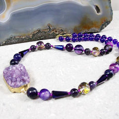 unique druzy quartz purple gemstone necklace