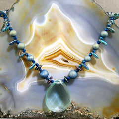 aqua quartz gemstone statement necklaces uk