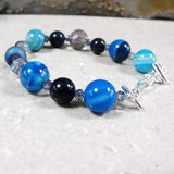 blue agate statement jewellery bracelet uk