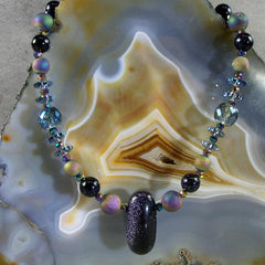 blue goldstone semi-precious stone necklace