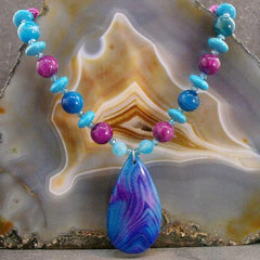 blue agate semi-precious gemstone pendant jewellery necklace uk