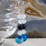 long drop handmade agate blue earrings