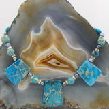 jasper blue handcrafted semi-precious bead necklace