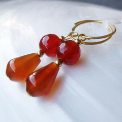 carnelian semi-precious stone jewellery earrings