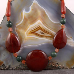 long carnelian semi-precious stone necklace uk made