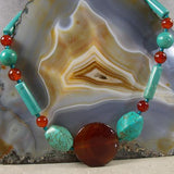 turquoise carnelian long chunky stone necklace uk
