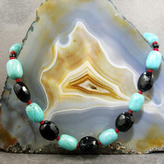 chunky turquoise, chunky onyx semi-precious stone necklace