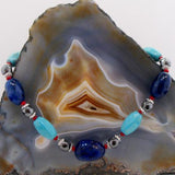 handcrafted blue semi-precious bead necklace uk