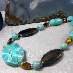 turquoise tigers eye gemstone long necklace uk created