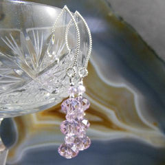 pink crystal earrings silver hooks