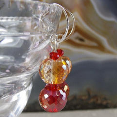 orange and red crystal drop earrings