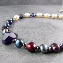 freshwater pearl semi-precious amethyst handcrafted jewellery