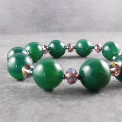 green agate handcrafted jewellery bracelet with crystals