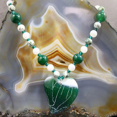 romantic heart green gemstone necklace jewellery uk
