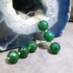 semi-precious green stone earrings uk crfated