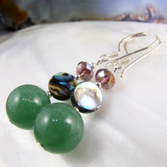 green aventurine semi-precious stone earrings with paua shell
