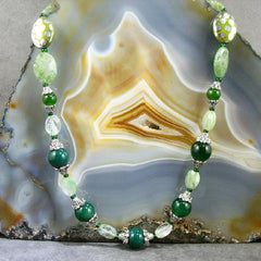 agate kiwi quartz green gemstone necklace jewellery uk made
