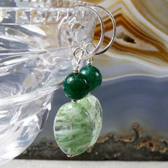 kiwi quartz green agate semi-precious stone earrings