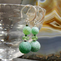green agate gemstone earrings with statement
